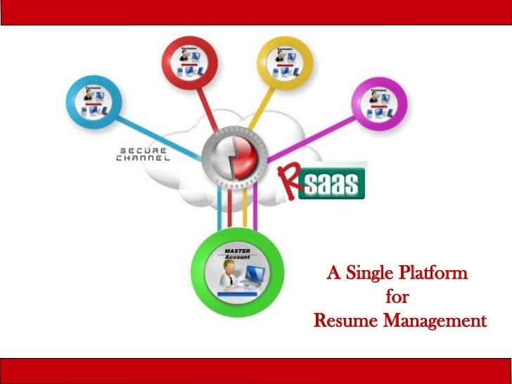 A Single Platform        forResume Management