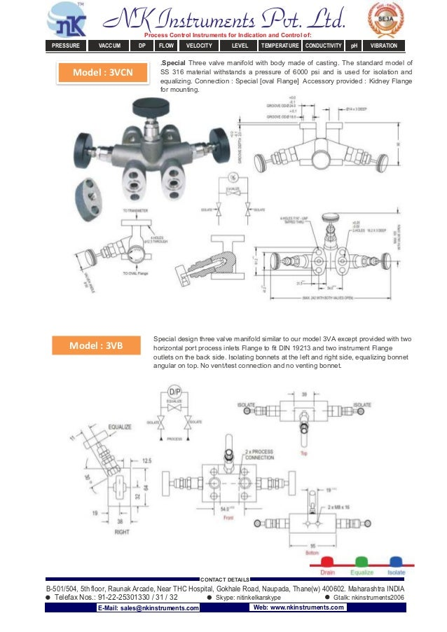 Model : 3VCN Model : 3VB .Special Three valve manifold with body made of casting. The standard model of SS 316 material wi...