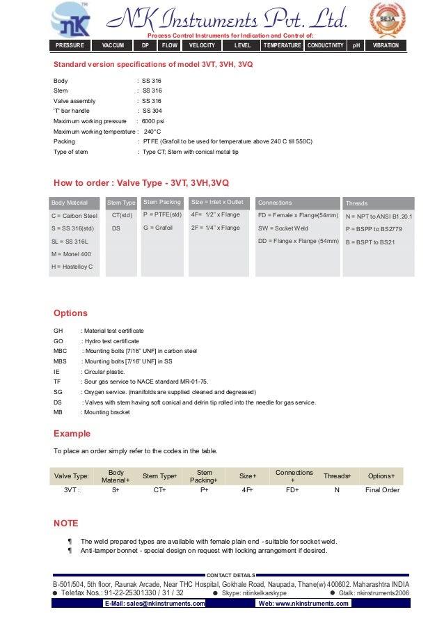 Standard version specifications of model 3VT, 3VH, 3VQ Body : SS 316 Stem : SS 316 Valve assembly : SS 316 'T' bar handle :...