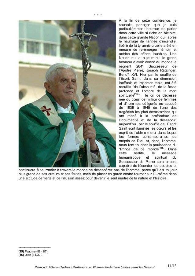 """Raimondo Villano - Tadeusz Pankiewicz: un Pharmacien écrivain """"Justes parmi les Nations"""" 11/13* * *À la fin de cette confé..."""