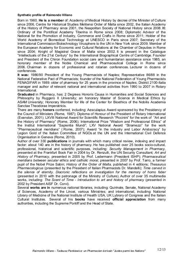 "Raimondo Villano - Tadeusz Pankiewicz: un Pharmacien écrivain ""Justes parmi les Nations"" 12/13Synthetic profile of Raimond..."
