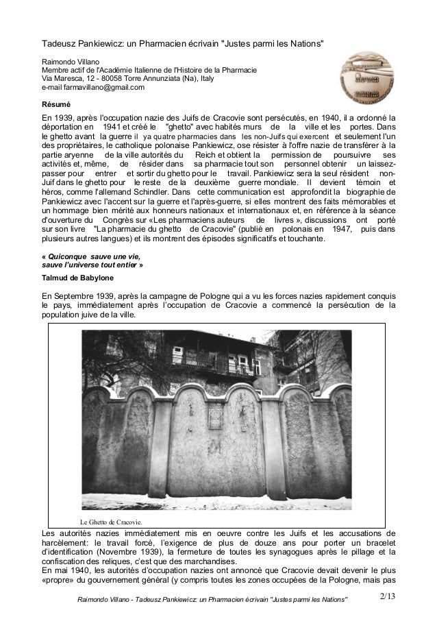 "Raimondo Villano - Tadeusz Pankiewicz: un Pharmacien écrivain ""Justes parmi les Nations"" 2/13Tadeusz Pankiewicz: un Pharma..."