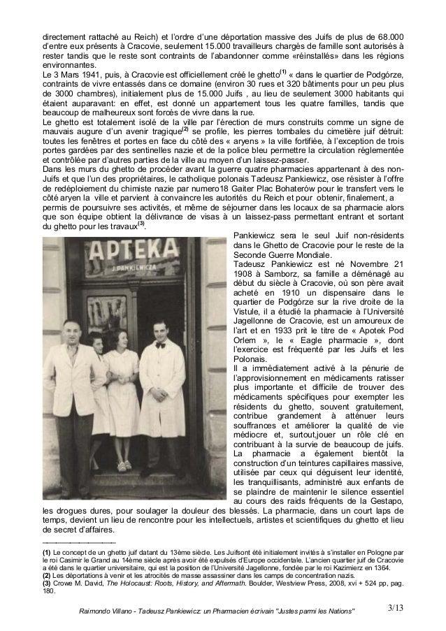 """Raimondo Villano - Tadeusz Pankiewicz: un Pharmacien écrivain """"Justes parmi les Nations"""" 3/13directement rattaché au Reich..."""