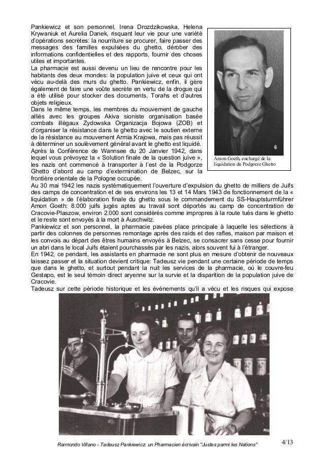 """Raimondo Villano - Tadeusz Pankiewicz: un Pharmacien écrivain """"Justes parmi les Nations"""" 4/13Pankiewicz et son personnel, ..."""