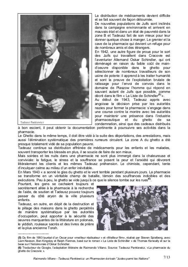 """Raimondo Villano - Tadeusz Pankiewicz: un Pharmacien écrivain """"Justes parmi les Nations"""" 7/13La distribution de médicament..."""