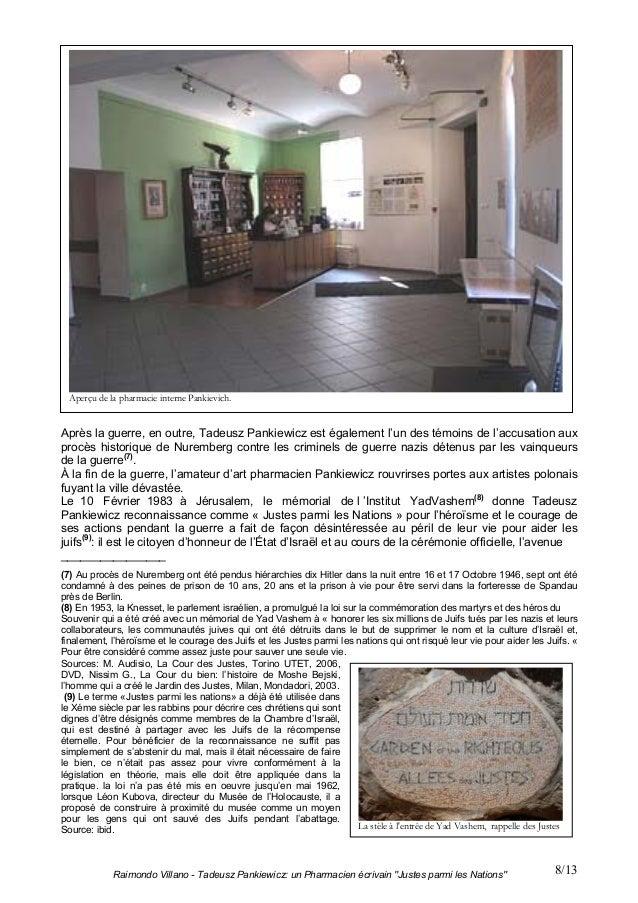 """Raimondo Villano - Tadeusz Pankiewicz: un Pharmacien écrivain """"Justes parmi les Nations"""" 8/13Après la guerre, en outre, Ta..."""