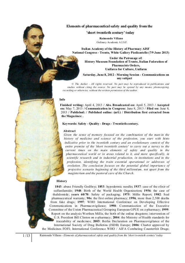 1 /13 Raimondo Villano - Elements of pharmaceutical safety and quality from the short twentieth century todayElements of p...