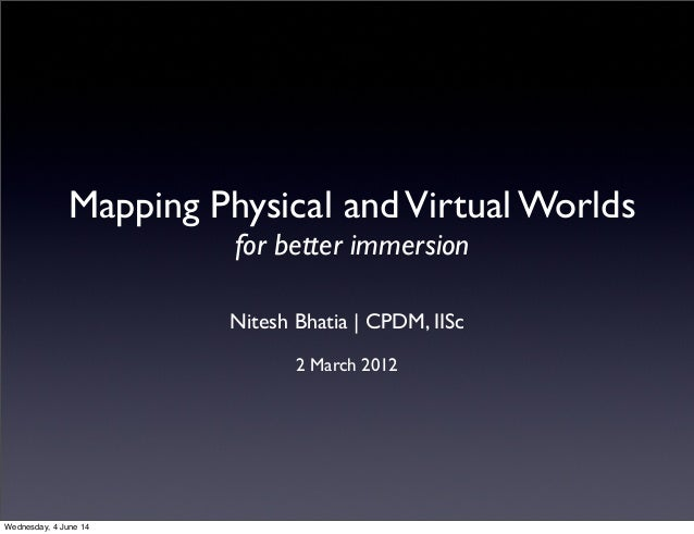 Mapping Physical andVirtual Worlds for better immersion Nitesh Bhatia | CPDM, IISc 2 March 2012 Wednesday, 4 June 14