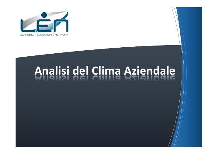 Analisi del Clima Aziendale