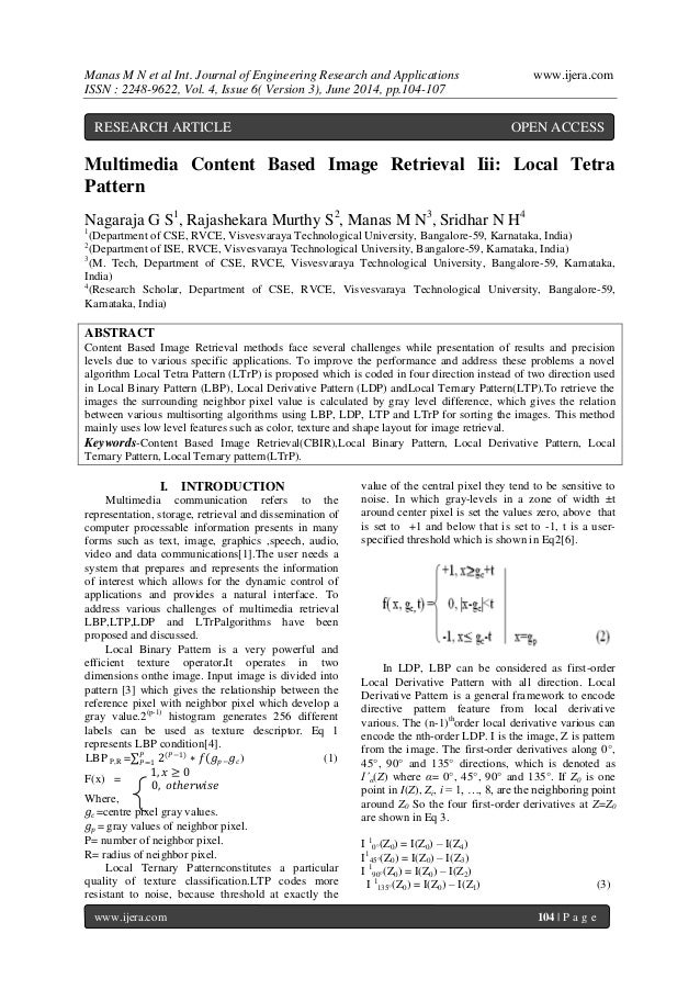 Manas M N et al Int. Journal of Engineering Research and Applications www.ijera.com  ISSN : 2248-9622, Vol. 4, Issue 6( Ve...