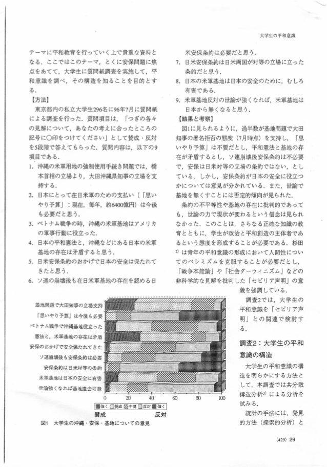 テーマに平和教育を行っていく上で貴重な資料と なる.ここではこのテーマ,とくに安保問題に焦 点をあてて,大学生に質問紙調査を実施して,平 和意識を調べ,その構造を知ることを目的とす る. {方法] 東京都内の私立大学生296名に96年7月に質問...