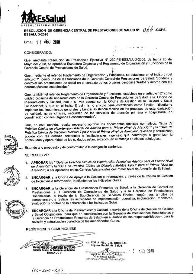 • taEssalud RESOLUCION DE GERENCIA CENTRAL DE PRESTACIONESDE SALUD N° 066 -GCPS- ESSALUD-2010 Lima, 1 1 AfjQ 2010 MAS SALU...