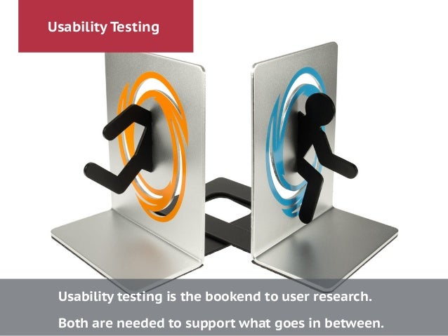 Usability Testing Usability testing is the bookend to user research. ! Both are needed to support what goes in between.