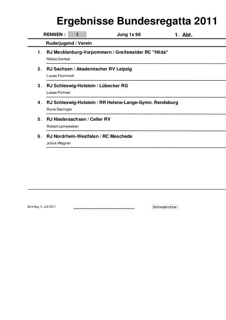 Ergebnisse Bundesregatta 2011            RENNEN :              1                                                          ...