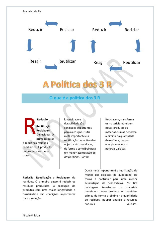 Trabalho de Tic  Reduzir  Reciclar  Reduzir  Reciclar  Reagir  Reutilizar  Reagir  Reutilizar  O que é a política dos 3 R ...
