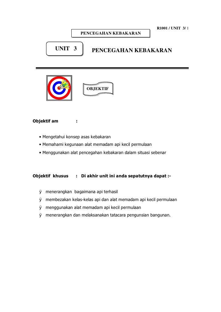 R1001 / UNIT 3/ 1                        PENCEGAHAN KEBAKARAN            UNIT 3            PENCEGAHAN KEBAKARAN           ...