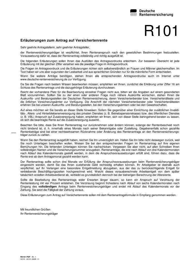 Erläuterungen zum Antrag auf Versichertenrente                                                                            ...