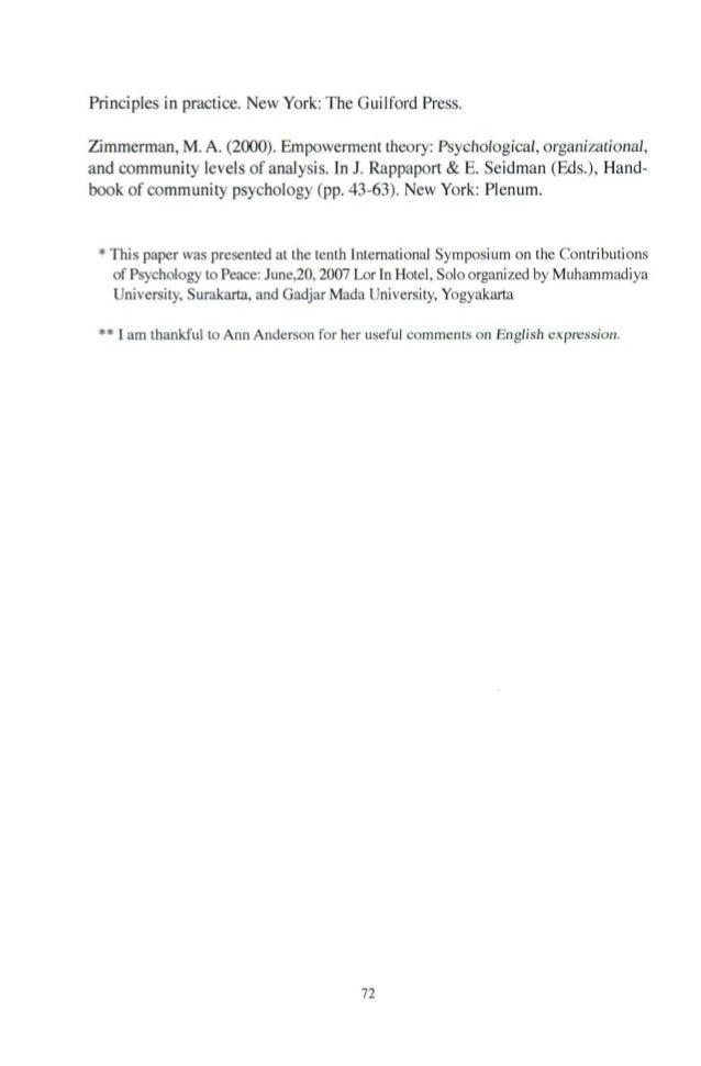 Principlesinpractice.N巴wYork:TheGuilfordPress Zimmerman,M.A.(2000).Empowermenttheory:Psychological,organizational, andcomm...