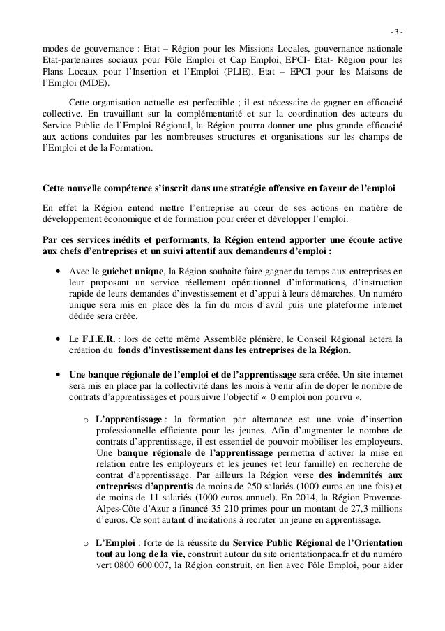 Conseil r gional paca d finition d 39 une strat gie - Formation cuisine collective pole emploi ...