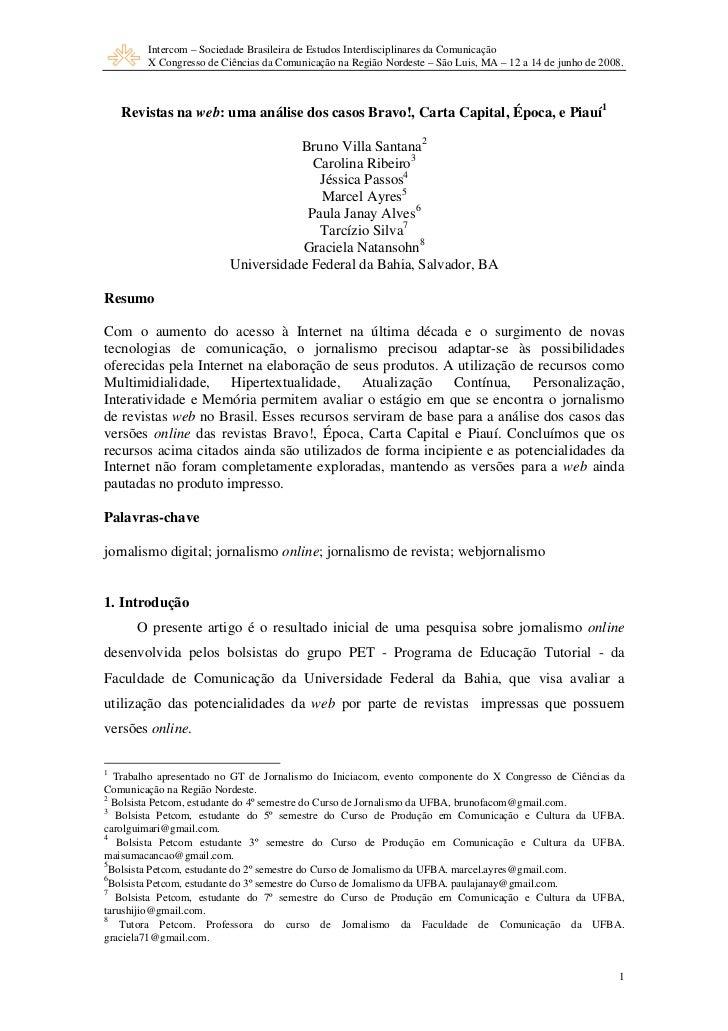 Intercom – Sociedade Brasileira de Estudos Interdisciplinares da Comunicação        X Congresso de Ciências da Comunicação...