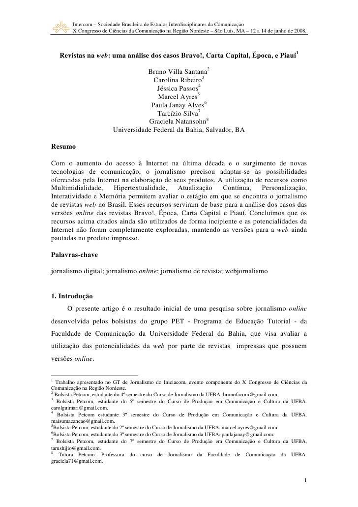 Intercom – Sociedade Brasileira de Estudos Interdisciplinares da Comunicação         X Congresso de Ciências da Comunicaçã...