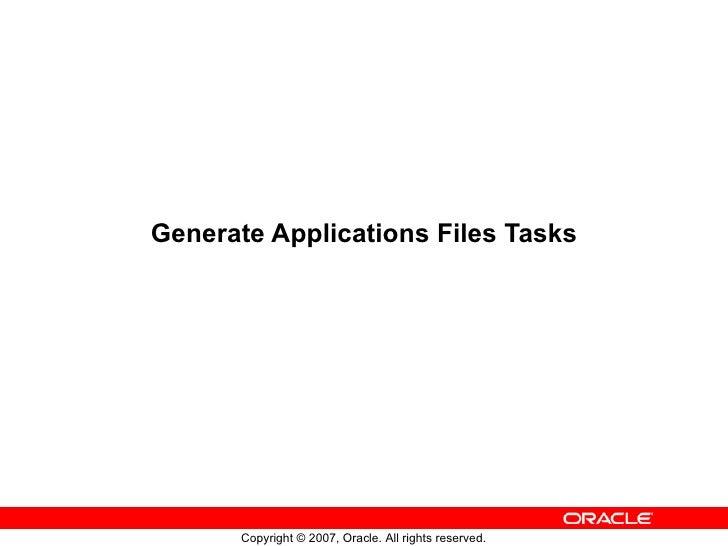 Generate Applications Files Tasks