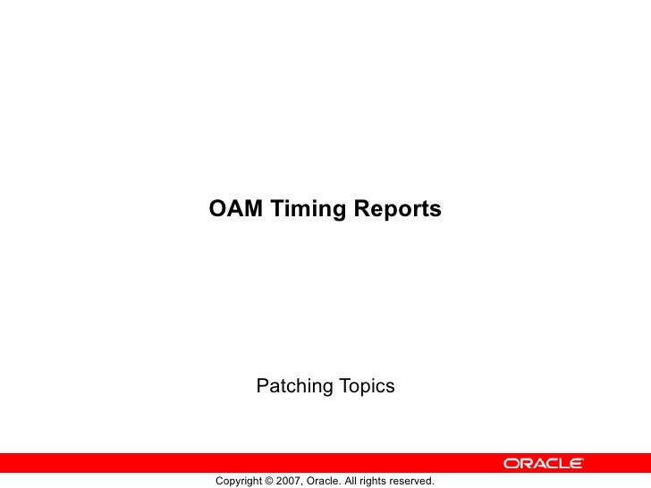 OAM Timing Reports Patching Topics