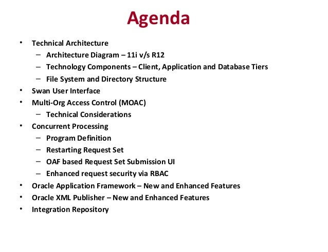 Agenda • Technical Architecture – Architecture Diagram – 11i v/s R12 – Technology Components – Client, Application and Dat...