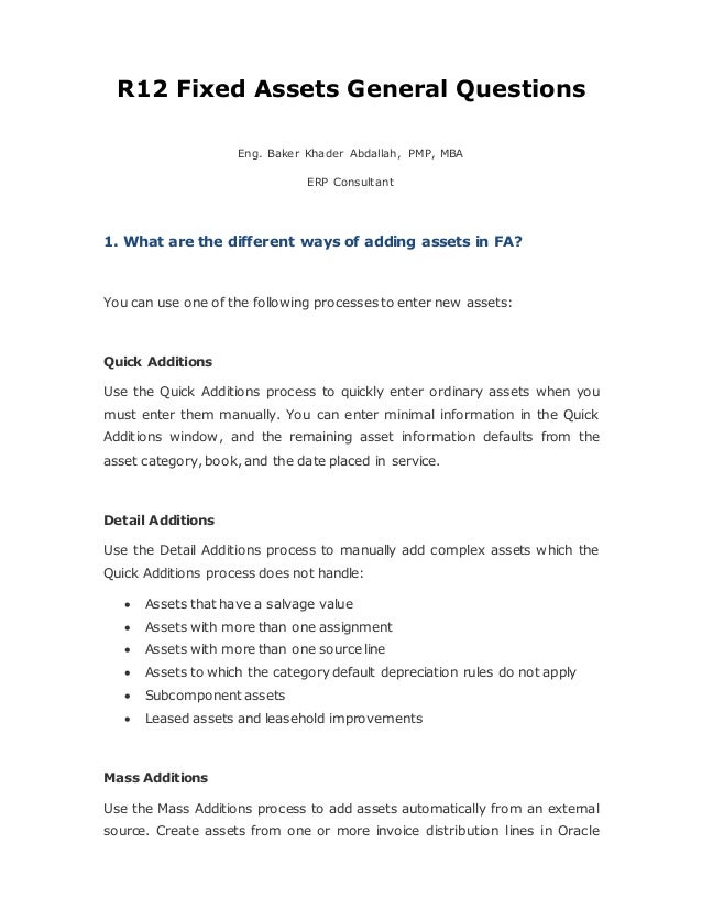 R12 Fixed Assets General Questions