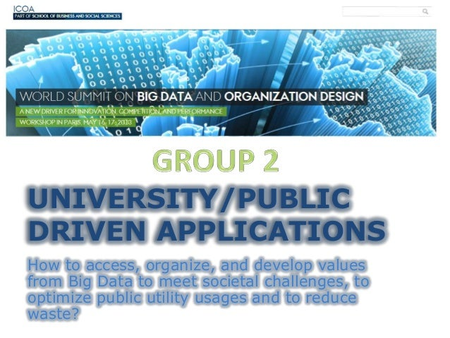 UNIVERSITY/PUBLICDRIVEN APPLICATIONSHow to access, organize, and develop valuesfrom Big Data to meet societal challenges, ...