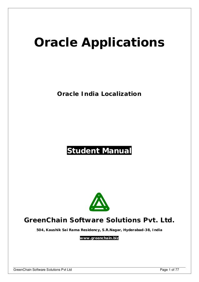 r12 india localization guide rh slideshare net Oracle E-Business Suite Oracle 11I User Guide