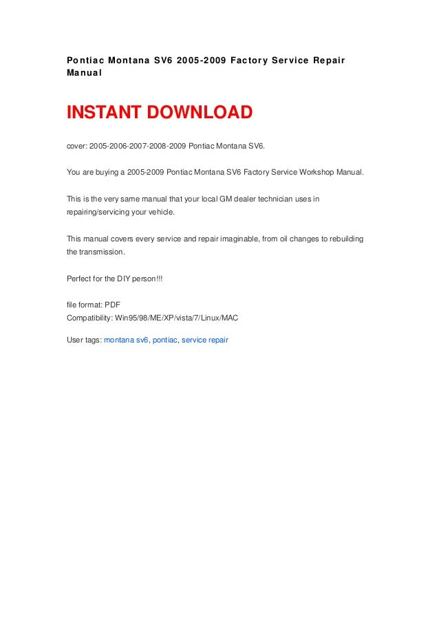 pontiac montana sv6 2005 2009 factory service repair manual rh slideshare net