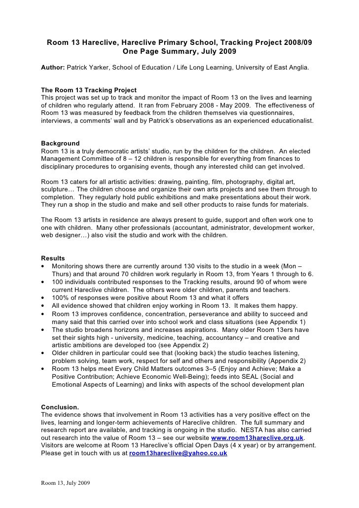 R13 Tracking Report 1 Page Summary   Quotes