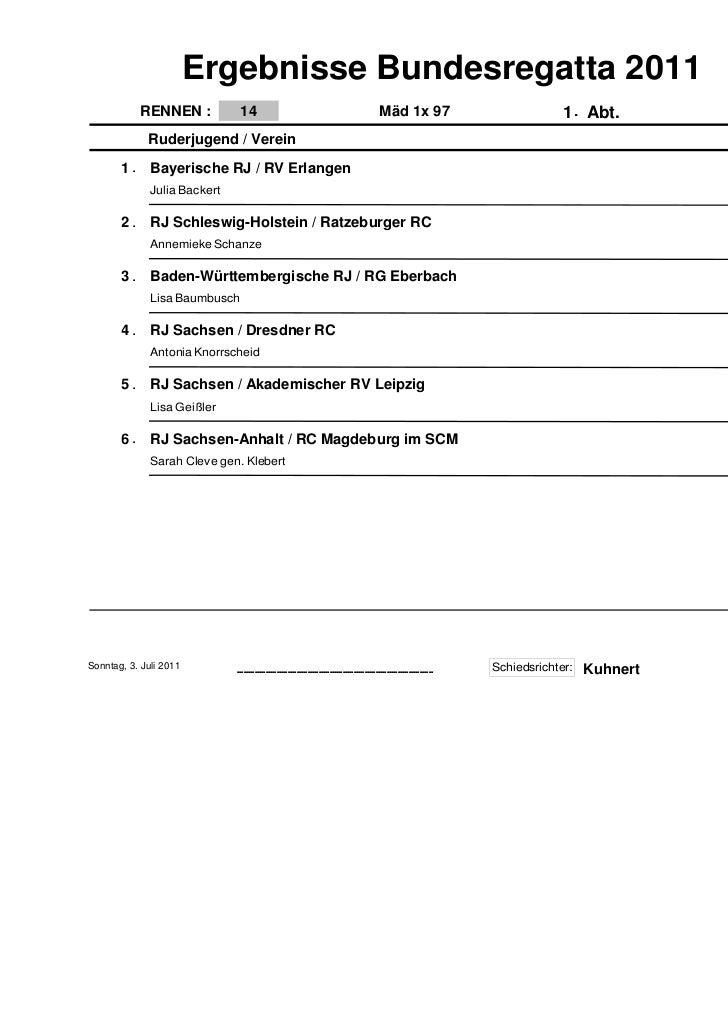 Ergebnisse Bundesregatta 2011            RENNEN :           14                                                            ...
