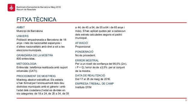 3 Baròmetre Semestral de Barcelona Maig 2016 Resum de Resultats FITXA TÈCNICA AMBIT Municipi de Barcelona UNIVERS Població...