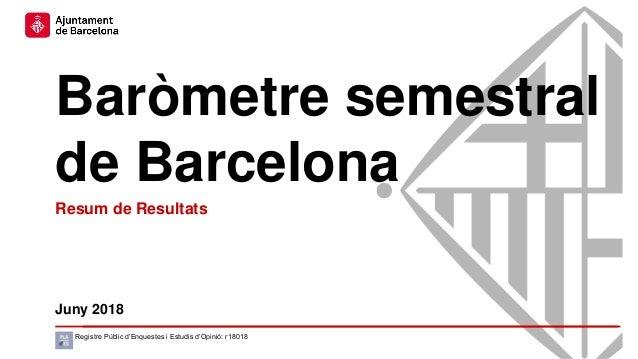 Baròmetre semestral de Barcelona Juny 2018 Registre Públic d'Enquestes i Estudis d'Opinió: r18018 Resum de Resultats