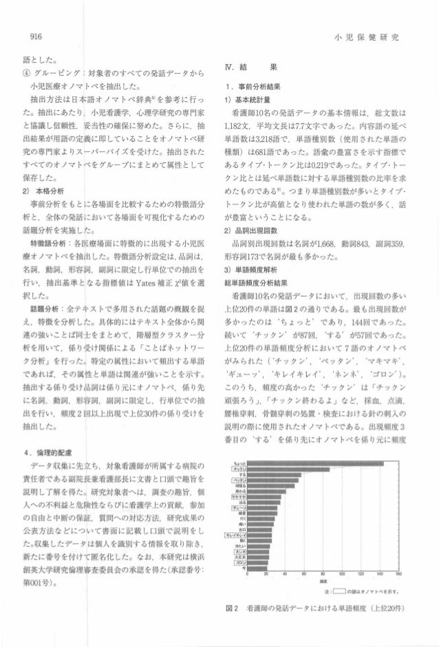 916 語とした。 ④ グ ル ーピ ング:対象者のすべての発話データから 小児医療オノマトペを抽出した。 抽出 方法は日本語オノマトベ辞典8)を参考に行っ た。抽出にあたり ,小児看護学,心理学研究の専門家 と協議し信頼性,妥当性の確保に努め...