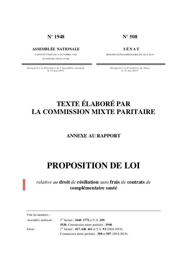 N° 1948 ASSEMBLÉE NATIONALE CONSTITUTION DU 4 OCTOBRE 1958 QUINZIÈME LÉGISLATURE N° 508 S É N A T SESSION EXTRAORDINAIRE D...