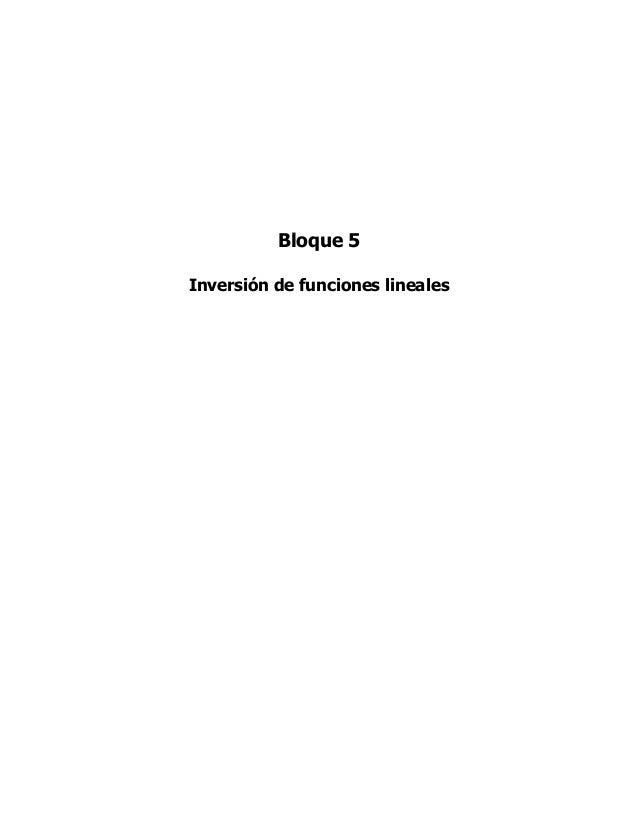 Bloque 5Inversión de funciones lineales