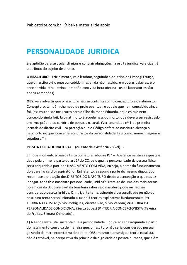 Pablostolze.com.br  baixa material de apoio PERSONALIDADE JURIDICA é a aptidão para se titular direitos e contrair obriga...