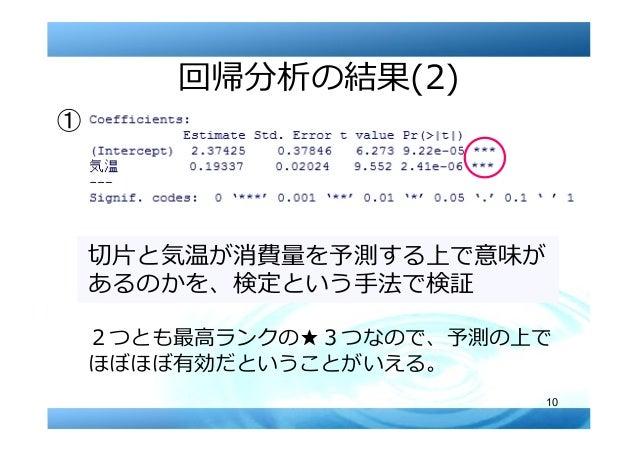 10 回帰分析の結果(2) 切⽚と気温が消費量を予測する上で意味が あるのかを、検定という⼿法で検証 2つとも最⾼ランクの★3つなので、予測の上で ほぼほぼ有効だということがいえる。