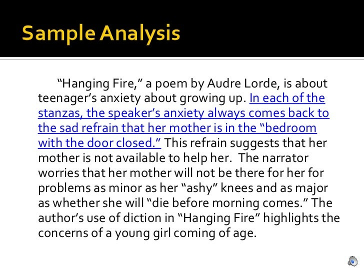 audre lorde hanging fire anxiety of Hanging fire is a brief poem written by audre lorde that expresses the feelings of teenagers in a simple and direct context the title hanging fire refers to a firearm that has been pulled its trigger, but is delayed in igniting in this case, it represents the girl being hesitant and insecure .