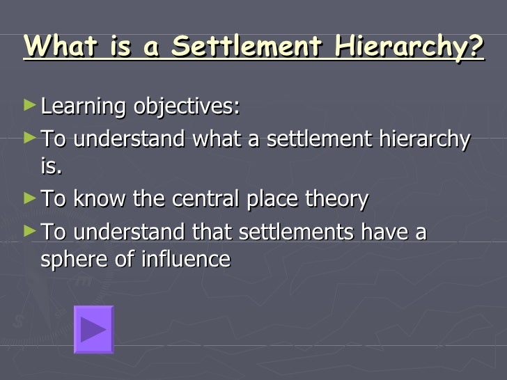 What is a Settlement Hierarchy?   <ul><li>Learning objectives: </li></ul><ul><li>To understand what a settlement hierarchy...