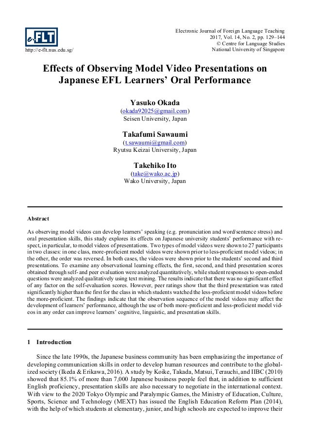 http://e-flt.nus.edu.sg/ Electronic Journal of Foreign Language Teaching 2017, Vol. 14, No. 2, pp. 129–144 © Centre for La...