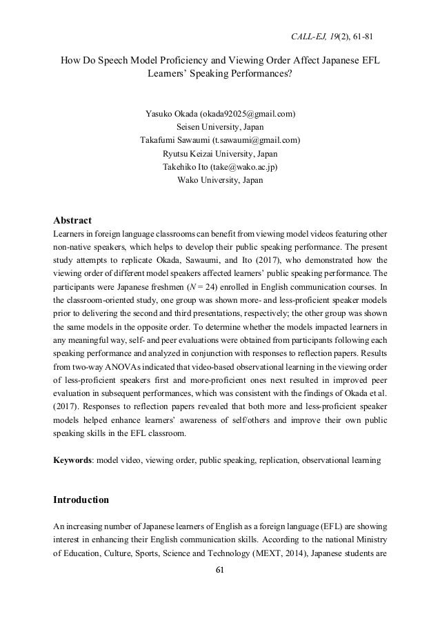 CALL-EJ, 19(2), 61-81 61 How Do Speech Model Proficiency and Viewing Order Affect Japanese EFL Learners' Speaking Performa...