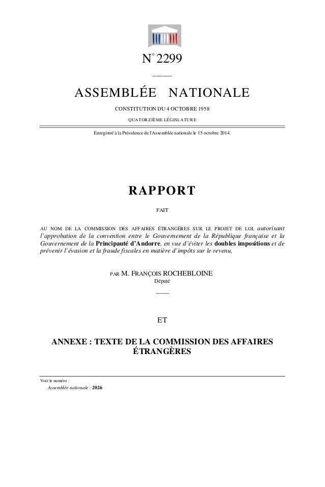 N° 2299  ______  ASSEMBLÉE NATIONALE  CONSTITUTION DU 4 OCTOBRE 1958  QUATORZIÈME LÉGISLATURE  Enregistré à la Présidence ...
