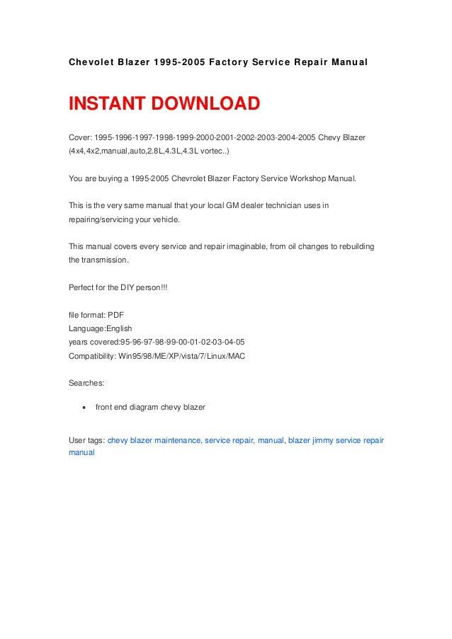 chevolet blazer 1995 2005 repair manual