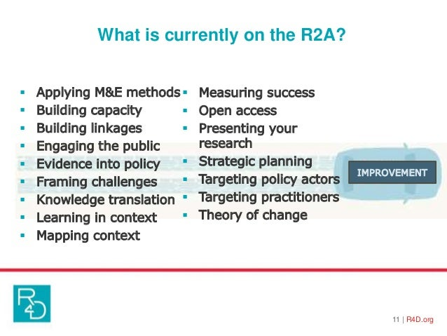 What is currently on the R2A? 11   R4D.org  Applying M&E methods  Building capacity  Building linkages  Engaging the p...