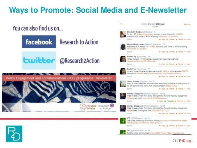 Ways to Promote: Social Media and E-Newsletter 21   R4D.org