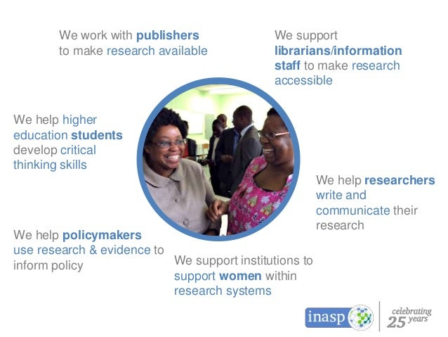 We work with publishers to make research available We support librarians/information staff to make research accessible We ...